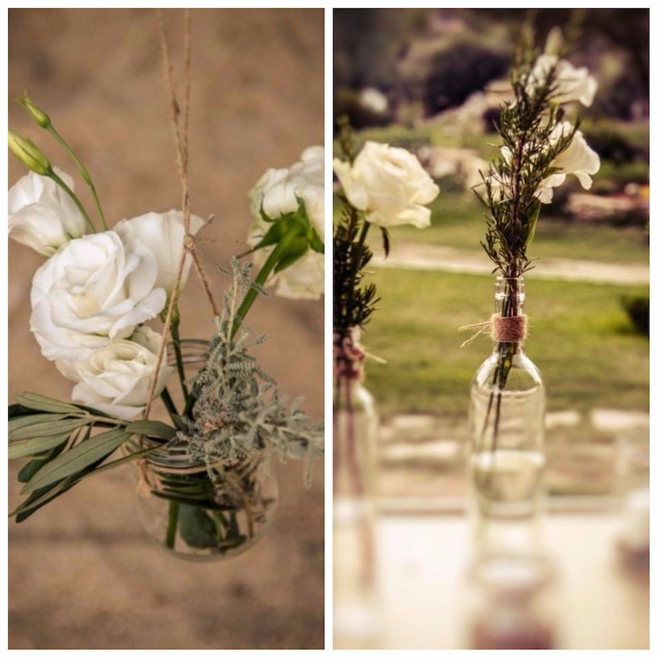 greek-herbs-and-white-roses-wedding-decor-greek-italian-wedding